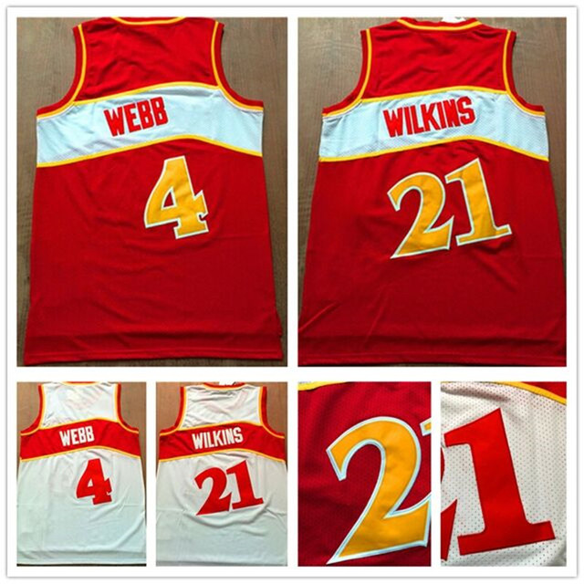 Retro Dominique Wilkins Jersey Stitched 4 Spud Webb Throwback Basketball  Jersey Red 21 Dominique Wilkins Shirt Fast Shipping eef31c1d2