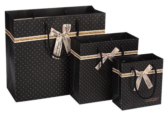 20 حزمة هدية الأعمال كيس من الورق الأسود مع مقبض للأحذية أحذية حلوى الشوكولاته