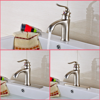 Luxury Stainless Steel Nickel Brushed Countertop Bathroom Sink Faucet Hot And Cold Water Mixer Tap