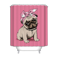 Bath Curtains Waterproof Thicker Free Punching Creative Cartoon Pink Bull Pattern Bathroom Shower Curtain Set Free
