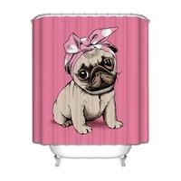 Bath Curtains Waterproof Thicker Free Punching Creative Cartoon Pink Bull Pattern Bathroom Shower Curtain Set Free