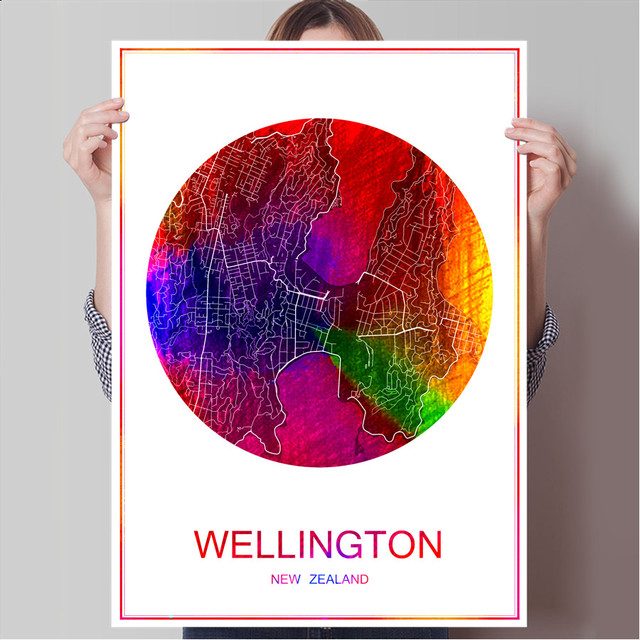 wellington new zealand world city map print poster print on paper or canvas wall sticker bar