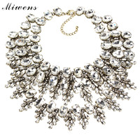 Miwens Resin Flower Statement Necklace Women Multilayer Rhinestone Necklace & Pendants Summer Style Jewelry Party Gift 6682
