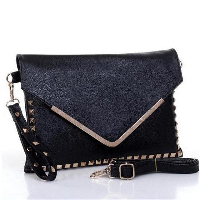 2016Hot Designer Rivet V Envelope Bag Women European Fashion Day Clutch Party Handbag Purse Casual Cross Body Shoulder Bag Bolso