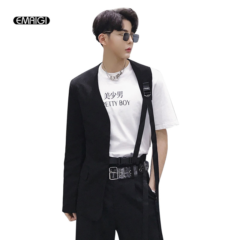 Men A Side Irregular Collarless Design Slim Fit Belt Casual Suit Male Stage Wear Blazer Jacket Singer Dancer Costumes