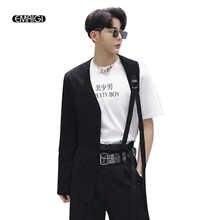 Men A Side Irregular Collarless Design Slim Fit Belt Casual Suit Male Stage Wear Blazer Jacket Singer Dancer Costumes - DISCOUNT ITEM  23% OFF Men\'s Clothing
