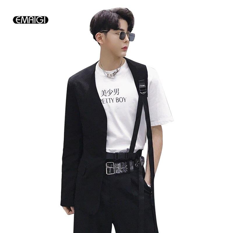 Men A Side Irregular Collarless Design Slim Fit Belt Casual Suit Male Stage Wear Blazer Jacket Singer Dancer Costumes