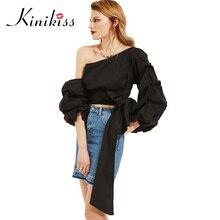 Kinikiss женский блузка черный косой воротник puff рукавом спинки рубашка весной 2017 плиссированные кружева до женщин топ-моды девушка блузка