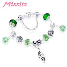 MISSITA Green Crystal Bracelet Original Leaf Charms Beads Brand Bracelets for Women Anniversary Jewelry Gift