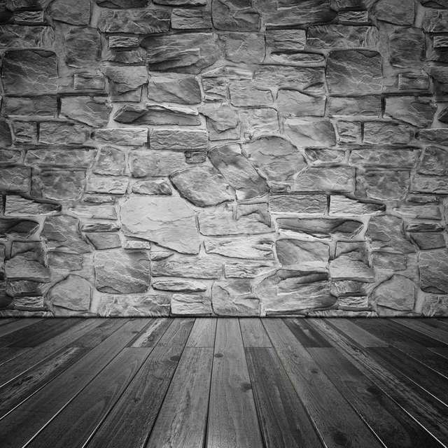 Real Dark Grey Brick Wall Photography Backdrops Newborn 5ft X7ft Wood Floor Photo Background For