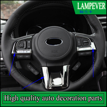 Car styling Steering Wheel Sequins Cover Sticker For Subaru Outback 2015-2017 steering wheel button cover trim Auto Accessories