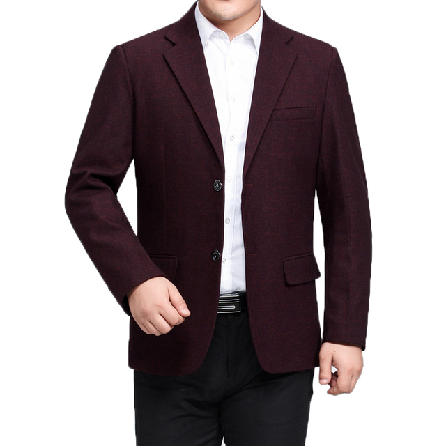 Chinese Man Smart Casual Blazers Wine Red Navy Blue Gray Print