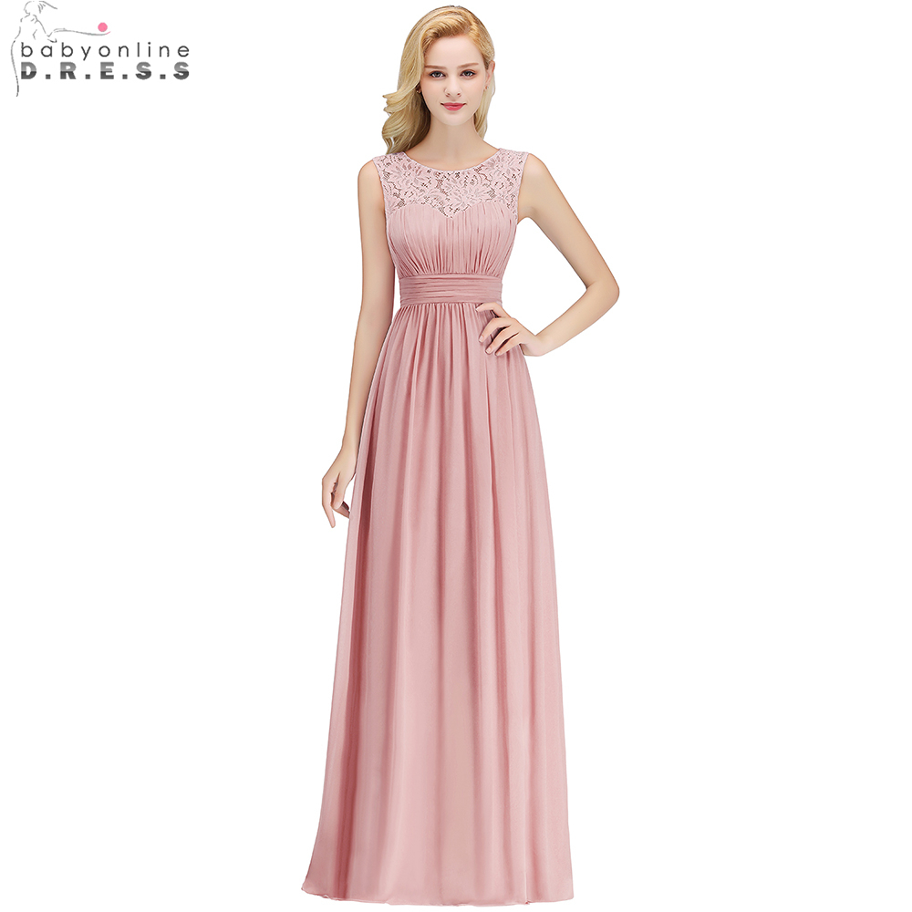 Babyonline Simple Dusty Rose Lace Chiffon Long   Evening     Dresses   2019 Sleeveless Formal Party   Dresses     Evening   Gown robe de soiree