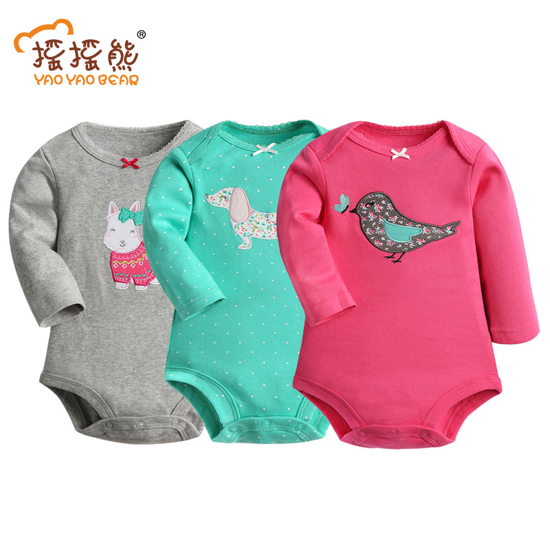 100% Мақта Baby Bodysuit 3pieces / lot Көктем Көктем Жаңа туған Дене Baby Long Sleeve Animal Pattern Infant Boy Girl Pijamas Киім