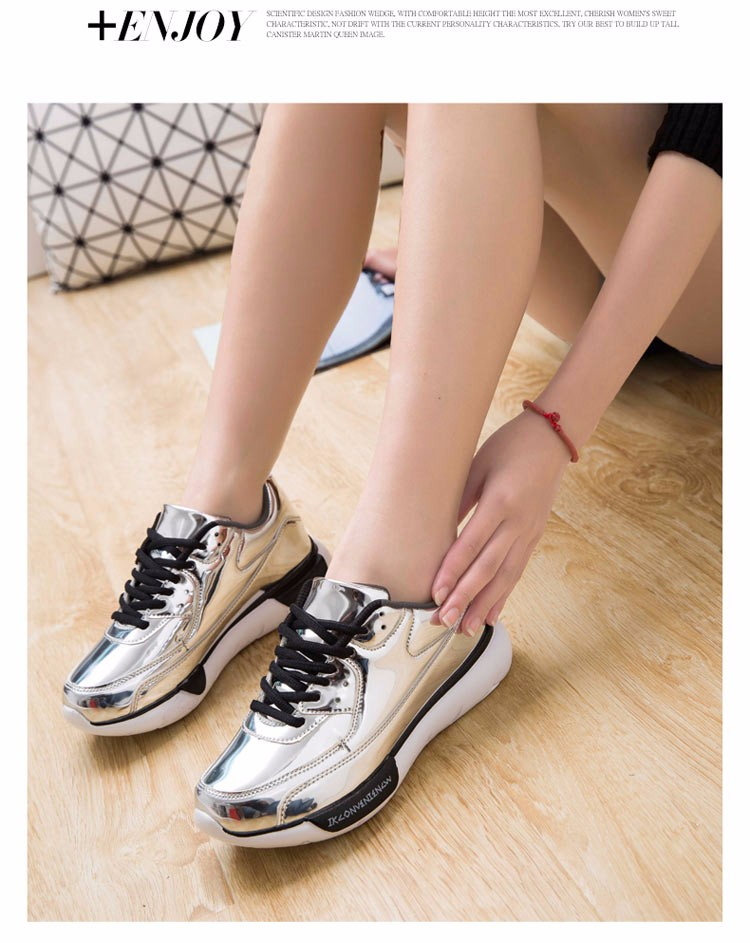 Mirror Surface Women 90 Casual Shoes Fashion Spring Lace Up Platform Womens Shoes Low Top Lace Up Trainers Women Gold Shoes YD52 (25)
