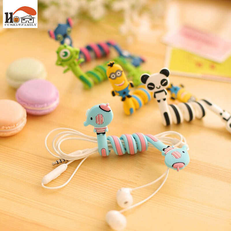 CUSHAWFAMILY cute Cartoon animal bobbin winder ear mechanism storage line hub multi-function Cables to receive Bag clip