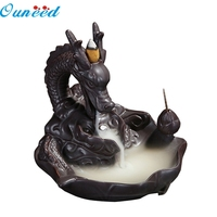 Happy Home Retro Handmade Porcelain Ceramic Backflow Incense Burner Buddhist Decoration Home Aromatherapy 1 Piece