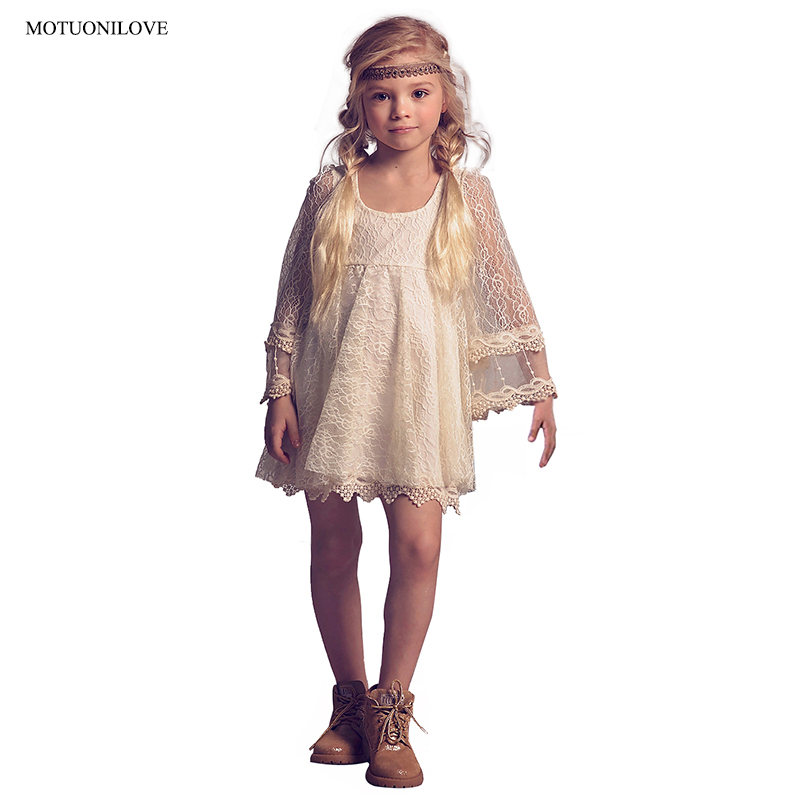 Vestidos Flores Lace   Flower     Girl     Dresses   for Weddings Party Mini Empire Waist Long Sleeves Little Kids Communion   Dresses   Fl001