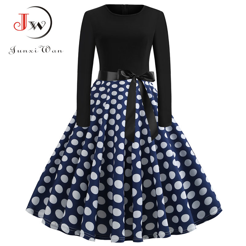 Women Elegant Vintage Dress 2019 Polka Dot Printed Party Dress Vestidos Long Sleeve Casual A-line Robe Retro Dress Plus Size