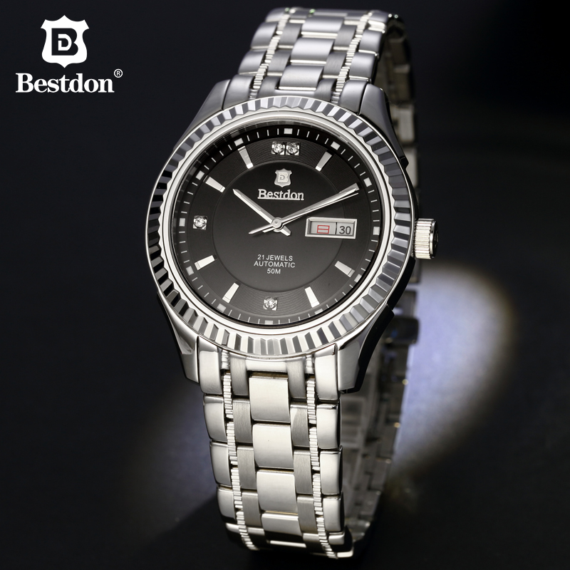 2017 Bestdon Mens High Quality Automatic mechanical Watches Men Top Brand Luxury Business full steel watch Man Relogio Masculino sapphire automatic mechanical watch classic mens watches top brand luxury fashion male wristwatch high quality relogio masculino