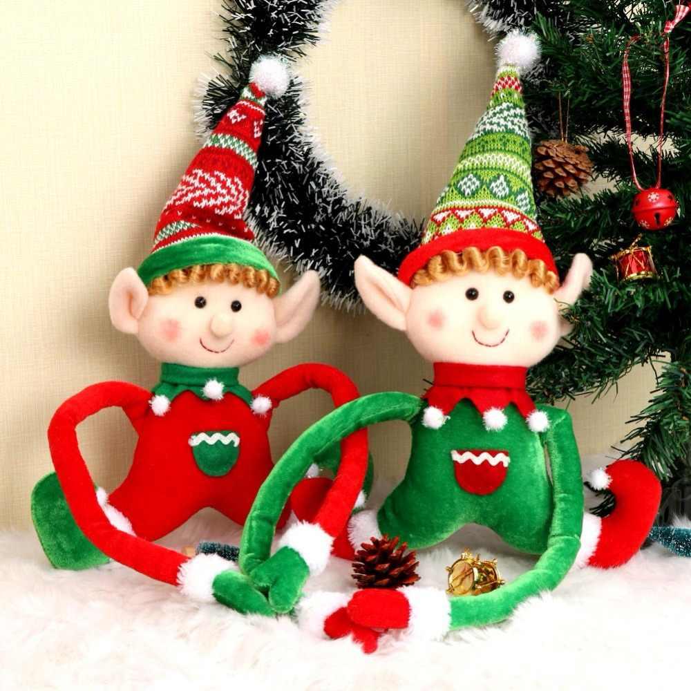 Ourwarm ano novo 2019 enfeites de árvore de natal cor mágica scratch cartão de natal elfos gome pingente de madeira & gota ornamentos