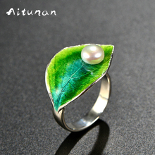 Aitunan Vintage 100%S 925Sterling Silver Natural Pearls Ring Cloisonne Enamel Green Leaf Ring Freshwater Pearl Ring Adjustable