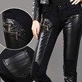 Jeans Women 2016 Fashion Pu Leather Patchwork Pants Denim Skinny Pencil Pants Zip Decorate Black Trousers PT-010