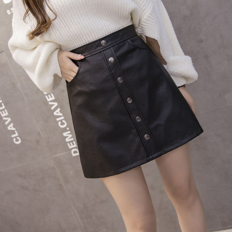 Autumn and Winter New Row Of Leather Skirt Package Hip Skirt Female High Waist Large Size A Word PU Short Black Small Leather Sk