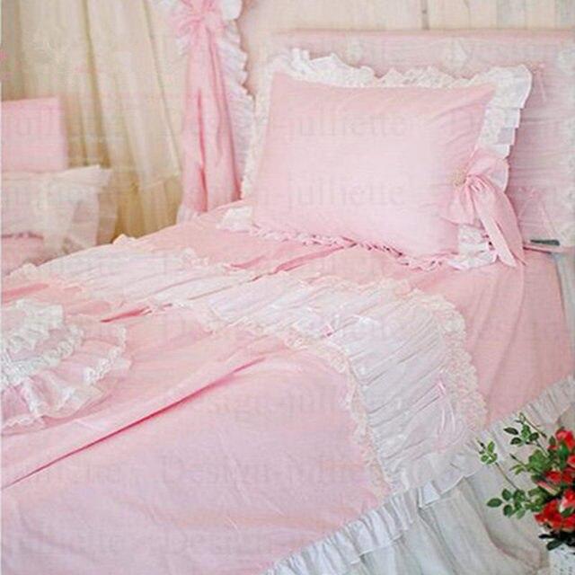 Us 12615 6 Offamerikanischen Stil Süße Prinzessin Bettwäsche Set Rüsche Bogen Bettbezug Spitze Garn Bettdecke Bettlaken Baby Schlafzimmer