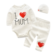 IYEAL Newborn Baby Boys Clothes Set 2018 New Fashion Baby Girl Clothing Outfit Cotton Long Sleeve Romper + Pant + Hat 3PCS/Set недорого