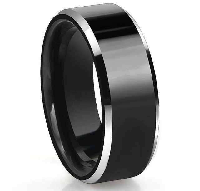 Wonderful 8MM Mens Black Tungsten Carbide Wedding Ring Two Tone Beveled Edges Comfort  Fit Finger Ring Black