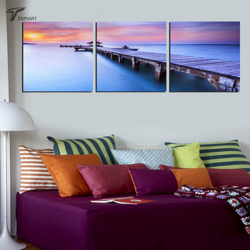 3 Piece Wall Canvas Painting Hawaii Beach Bridge Seascape Scenery Pictures Print On Morning Sunset Art Decor No Framed In Calligraphy From