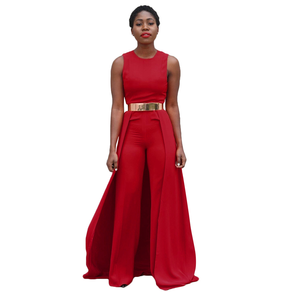 2017 Red Summer Fashion Sexy Out New Women Wide Leg Jumpsuit Ladies Sleeveless Jumpsuit Bodycon Playsuits