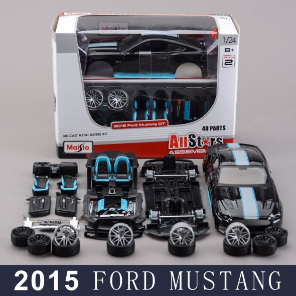 maisto assembly model car mustang 2015 black 124 assembly model alloy toy vehicle diy block car model car toys for kids gifts
