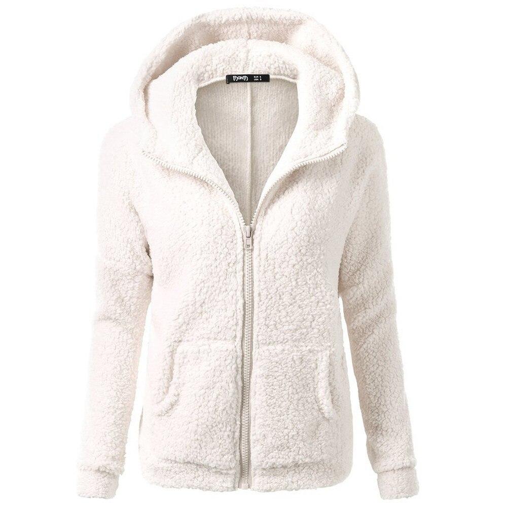 HTB1IOhAX4 rK1RkHFqDq6yJAFXab Women Solid Color Coat Thicken Soft Fleece Winter Autumn Warm Jacket Hooded Zipper Overcoat Female Fashion Casual Outwear Coat