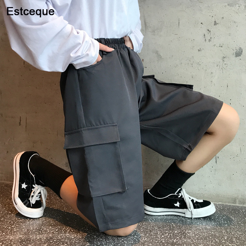 Women Military Style Cargo Shorts Elastic High Waist Short Pants 2018 Summer Elastic Waist Casual Straight Loose Style