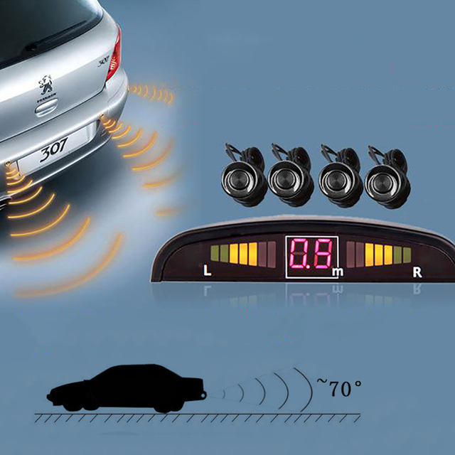 2016 New 1set Car Led Parking Sensor Kit Display 4 Sensors 22mm 12v for All Cars Reverse Assistance Backup Radar Monitor SystemF