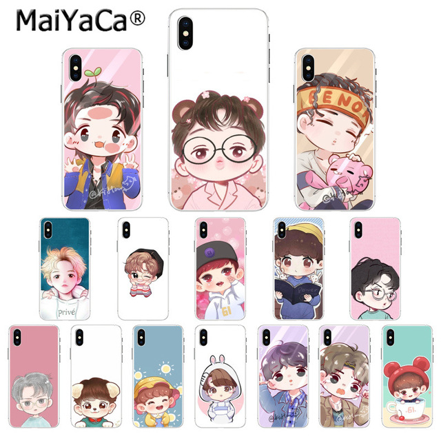 wholesale dealer 74dda f7757 US $1.01 49% OFF|MaiYaCa Cute cartoon Kpop exo DIY Printing Drawing Phone  Case cover Shell for Apple iPhone 8 7 6 6S Plus X XS MAX 5 5S SE XR-in ...