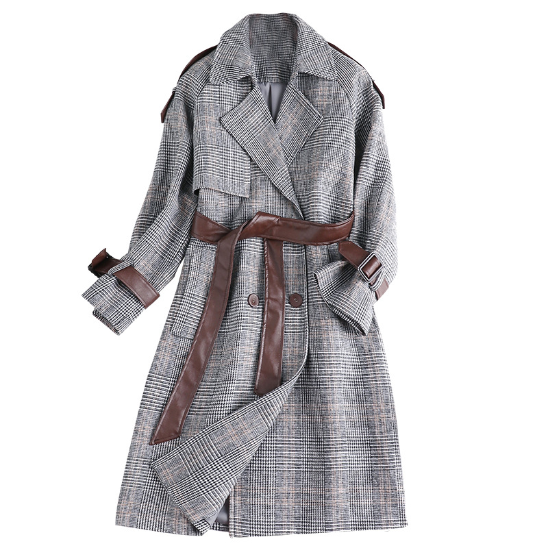 Automne Tranchée D'hiver Plaid Manteau Survêtement Gris De Boutonnage Mode Laine Vintage Mélangée 2018 Femmes Double Long FYxqdFa