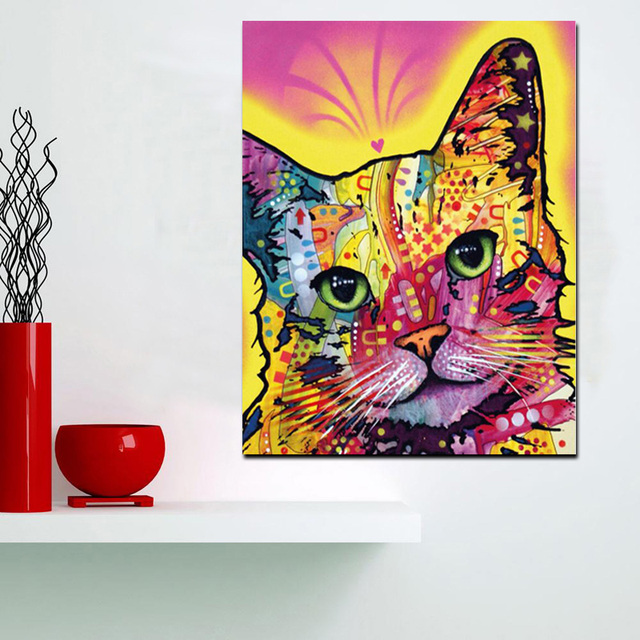 hd print abstract watercolor abstract cat oil painting on canvas pop art animal wall picture for