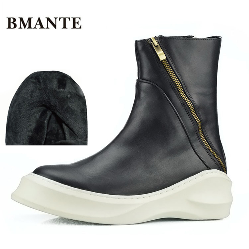 Real leather brand fashion male Casual shoe tall high top Thick sole Platform Harajuku boot men with Faux Fur style ug Australia intelligent sole shoe polisher shoe cleaning machine household automatic shoe cleaner