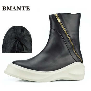 Real leather brand fashion male Casual shoe tall high top Thick sole Platform Harajuku boot men with Faux Fur style ug Australia - DISCOUNT ITEM  0% OFF All Category