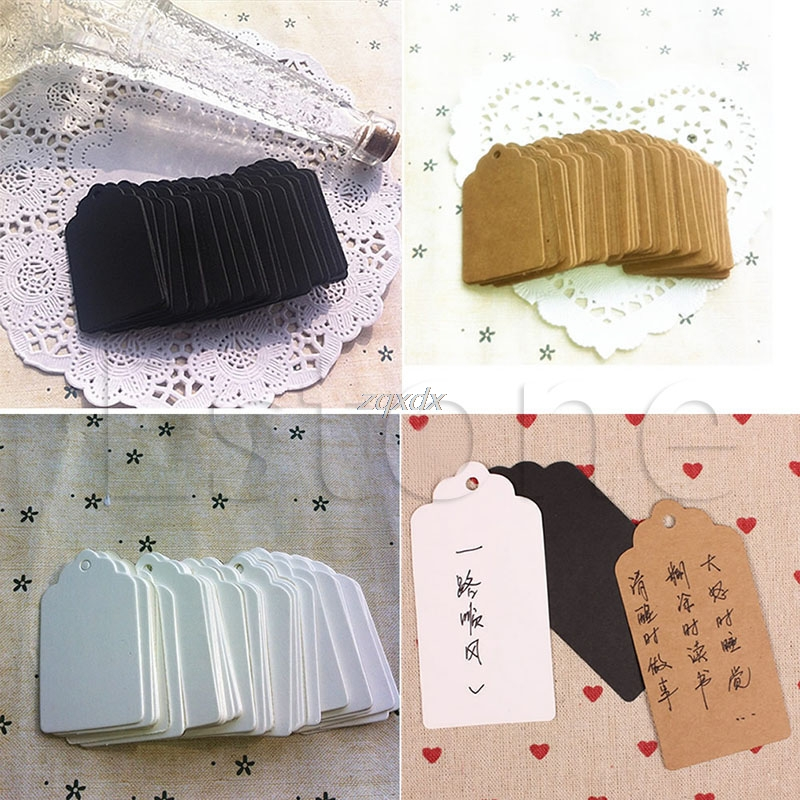 100Pcs Kraft Paper Square Hang Tags Wedding Part Y Favor Label Price Cards Gift Whosale&Dropship