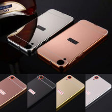 Luxury Metal Aluminum Frame Mirror PC Back Cover phone Cases For HTC Desire One M8 M9