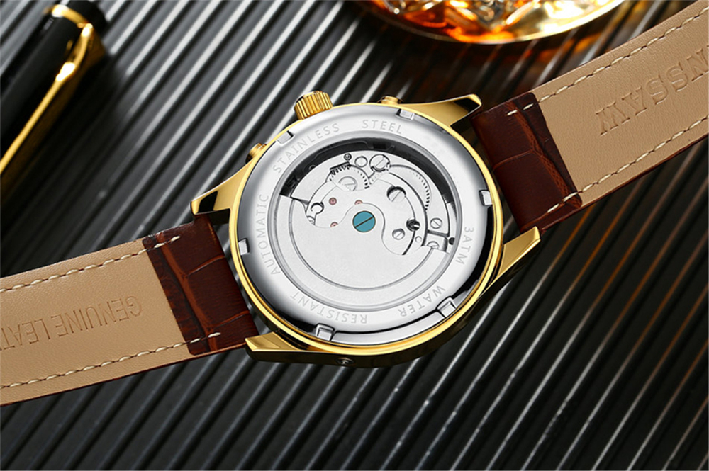 HTB1IOhZdv1H3KVjSZFBq6zSMXXa4 KINYUED 2019 Skeleton Tourbillon Mechanical Watch Automatic Men Classic Rose Gold Leather Mechanical Wrist Watches Reloj Hombre