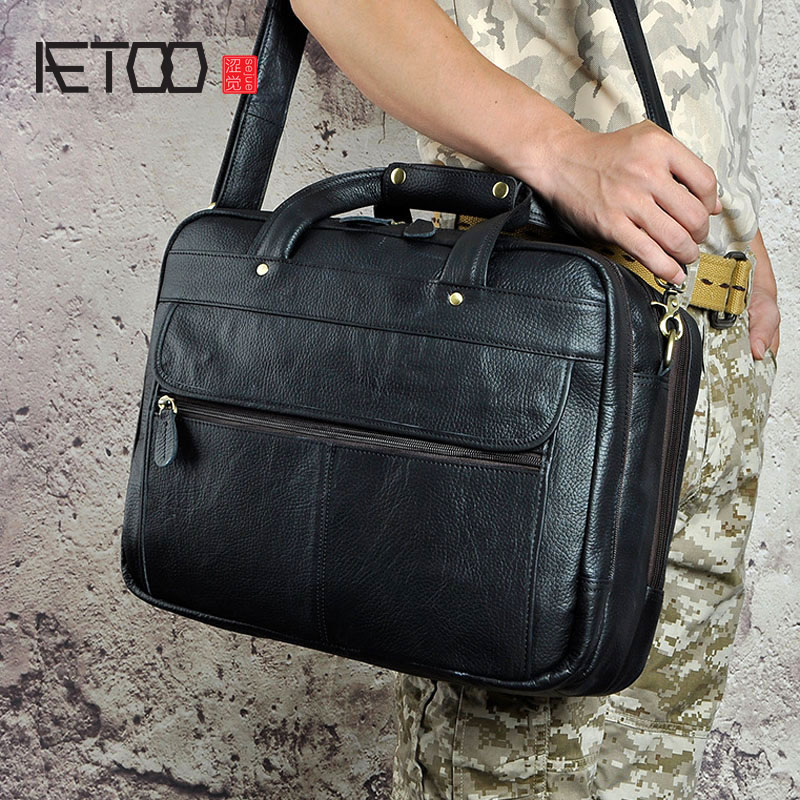 AETOO The first layer of wax leather leather trade Europe and the United States retro men's 16-inch business portable documents europe and the united states style first layer of leather lychee handbag fashion retro large capacity solid business travel bus