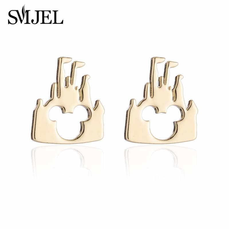 SMJEL acier inoxydable Mickey colliers ensemble de bijoux mignon enfants cadeaux dessin animé château Animal boucle d'oreille chien mère goujons bijoux