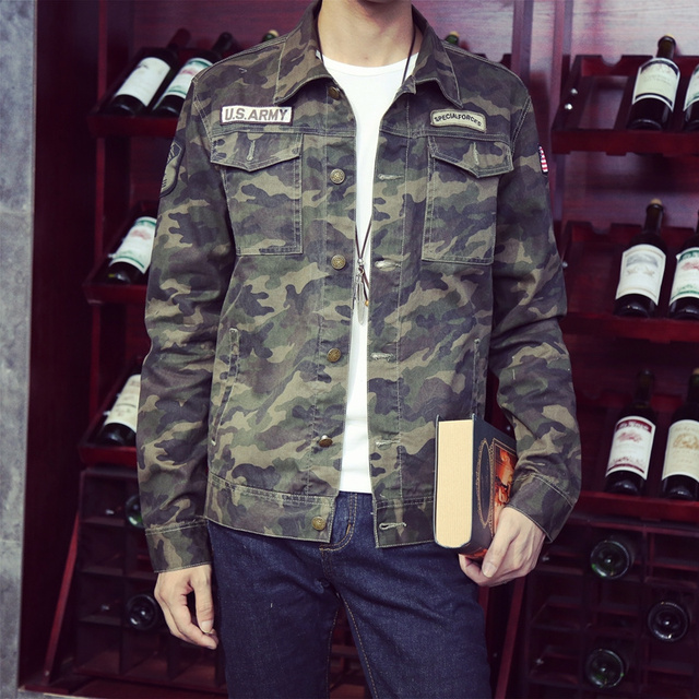 Men Military Camouflage Denim Jacket Turn Down Collar 2017 New Camo Print Jean Jackets Letters Embellished Free Shipping