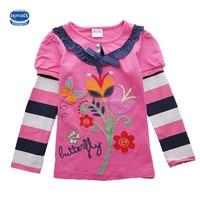 Nova 2015 Hot Sale Fuchsia O Neck Baby Girls T Shirt With Cute Cartoon Printed Spring