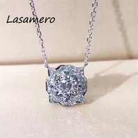 LASAMERO Halo 0 161 CT Round Cut Center Diamond Pave Set 18k Gold Natural Diamond Pendant